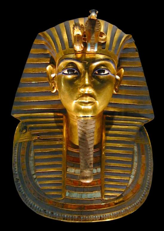 Tutankhamonin kultainen kuolinnaamio.