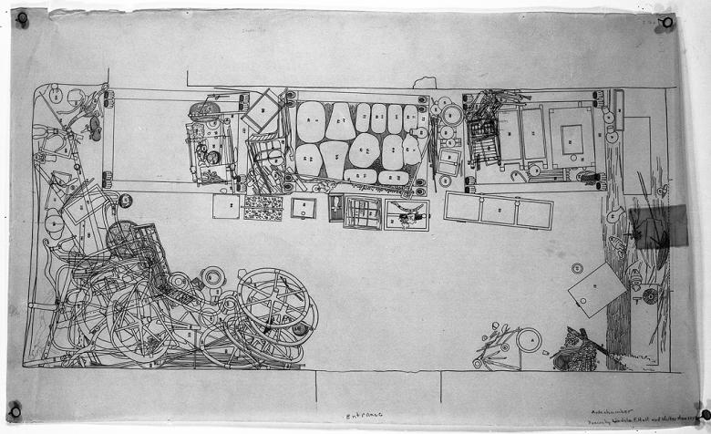 Howard Carterin dokumentointipiirroksia hautakammiosta.