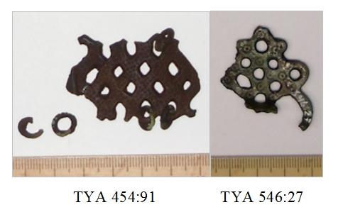 Häränsilmäleimoilla koristeltuja ketjunjakajia. Kuva: Heidi Viljanen.