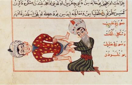 Kastraatiota kuvaava piirros persialaisen kronikoitsijan Sharaf ad-Dinin teoksessa vuodelta 1466. Kuva: Wikimedia Commons.