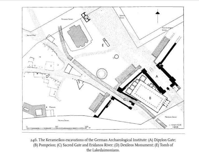 Kuva 2. Kerameikoksen kartta (Camp 2001: fig. 246).