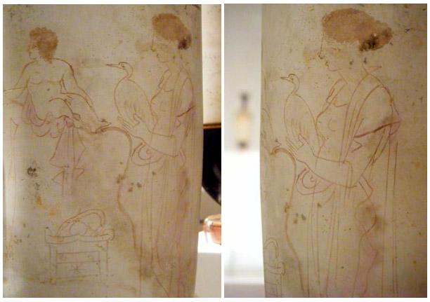 10. Kharon Acheron-joen varrella odottamassa kyytiin kuollutta lasta viedäkseen tämän Haadekseen. Lapsen vieressä seisoo hänen äitinsä lintu sylissä. Eretriasta, tekijä tuntematon, noin 420 eKr. Kuvat: Maija Lehikoinen.