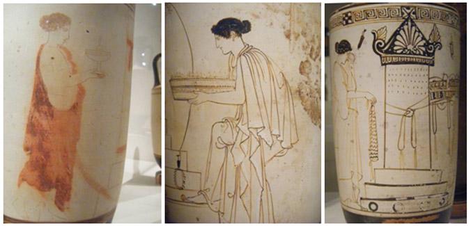 Kuva 5. Nainen plemochoe käsissään haudan äärellä. Bird-maalari, 430-420 eKr. Keskimmäisessä lekythoksessa vierailu haudalle, Eretriasta, Bosanquet-maalari, 450-440 eKr. Kolmannessa lekythoksessa myöskin vierailu haudalle, luultavasti Ateenasta, Inscription-maalari, 475-450 eKr. Kuvat: Maija Lehikoinen.