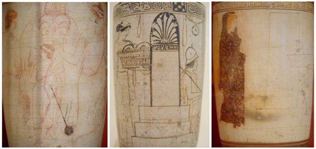 Kuva 6. Soturi, mies, nainen ja lelua pitelevä lapsi haudan äärellä. Eretriasta, Quadrate-maalari, 435-420 eKr. Keskimmäisessä lekythoksessa nuorukainen istumassa haudalla chlamys-vaate ja kypärä päässään, sekä nainen joka tuo uhrilahjoja. Eretriasta, Inscription-maalari, noin 450 eKr. Viimeisessä lekythoksessa mustaan himation-viittaan kääriytynyt nainen on todennäköisesti haudan vainaja. Eretriasta, Thanatos-maalari, noin 440 eKr. Kuvat: Maija Lehikoinen.