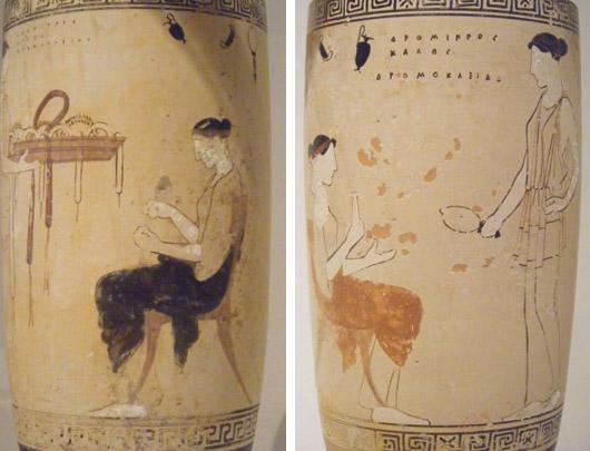 Kuva 7. Molemmissa lekythoksissa kaksi naista naisten asuintiloissa. Istuva nainen esittää todennäköisesti vainajaa. Eretriasta, Achilles-maalari, 460-450 eKr. Kuvat: Maija Lehikoinen.