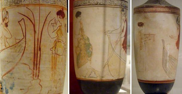 Kuva 8. Kharon veneessään Acheron-joen rannalla odottamassa kuollutta naista kyytiinsä. Reed-maalari, 5. vuosisadan eKr. lopulta. Kharon veneessään ja nainen alabastron kädessään. Eretriasta, Munich 2335-maalari, 440-430 eKr. Kharon veneessään Acheron-joen rannalla odottamassa kyytiin kuollutta naista joka pitelee lipasta. Bird-maalari, 440-430 eKr. Kuvat: Maija Lehikoinen.