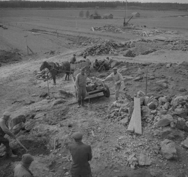 Urjalan Kunnalliskodin rautakautisia röykkiöitä tutkitaan vuonna 1953. Kunnalliskodin rakennustöiden yhteydessä maata oli poistettu räjähdyspanoksin, jolloin esiin oli lennähtänyt kaksi 600-700-luvulle ajoitettavaa keihäänkärkeä, väkipuukko, paimensauvaneula ja kilvenkupura. Jorma Leppäaho saapui paikalle ja kaivoi röykkiön, joka kuuluu samaan laajaan kalmistoalueeseen Ali-Uotilan röykkiöiden kanssa. Leppäaho julkaisi tutkimuksista artikkelin vuonna 1954 Lounais-Hämeen kotiseutu- ja museoyhdistyksen vuosikirjassa. Kuva: Pekka Kosonen(?).