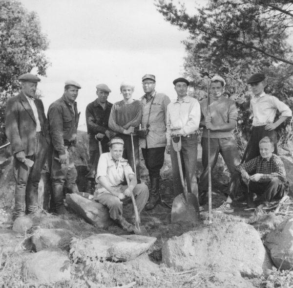 Kaivajat työn päätyttyä Pälkäneen Hyllissä kesäkuussa 1955. Hyllin muinaisjäännösryhmä käsittää röykkiöitä ja asuinpaikan. Osa röykkiöistä sisältää hatauksia, osa on tulkittu viikinkiaikaisiksi pajanpaikoiksi. Kuva: Esko Sarasmo.