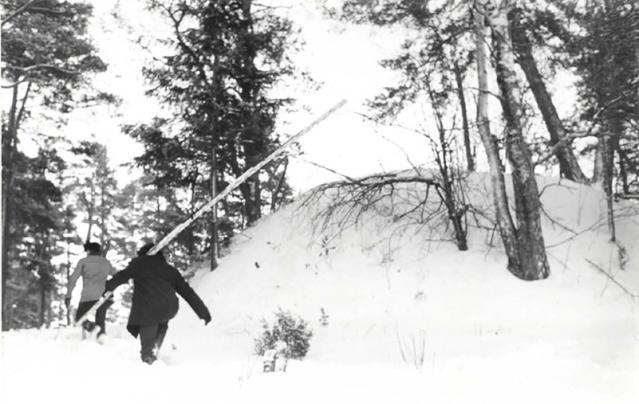 Pekka Sarvas ja Ari Siiriäinen kartoittavat lumista hautakumpua Santahaminassa tammikuussa 1971. Santahaminan itäkärjessä sijaitsee kolme kumpua, jotka muistuttavat ulkomuodoltaan tyypillisiä skandinaavisia viikinkiajan hautakumpuja. Kooltaan vastaavia on mm. Ahvenahmaan Godbyssä. Kummuilla on tehty koetutkimuksia 1957, mutta tuolloin kumpujen kairattaessa päästiin vain noin 60 cm:n syvyyteen, joten niiden sisältö on edelleen arvoitus. Kuva: Lauri Pohjakallio.