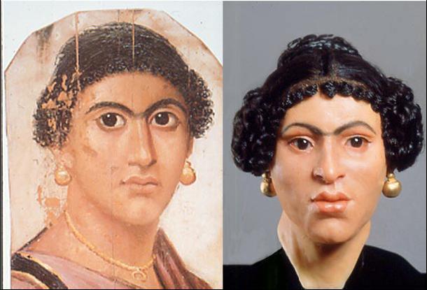 Egyptin roomalaisaikaisten muumioiden kääreisiin kuuluu maalattuja lautoja, joihin on kuvattu vainajan muotokuva. Naisen kasvomallinnus on tehty sekä muumion kallon että kasvomaalauksen pohjalta.