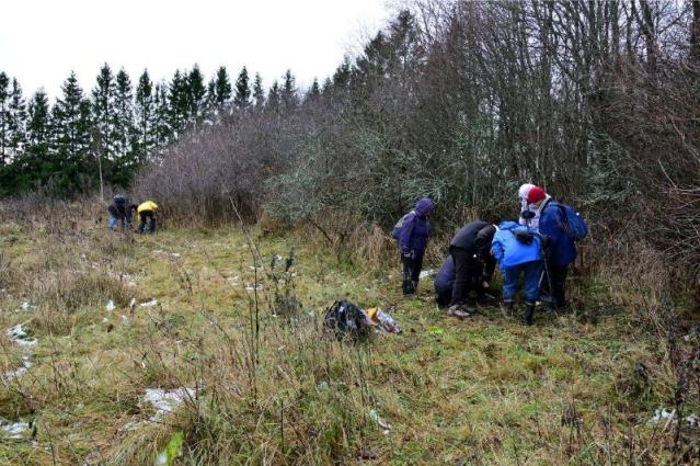 Arkeologia ja metallinilmaisin -kurssin oppilaita kartoittamassa Yli-Lemun kartanon aluetta.