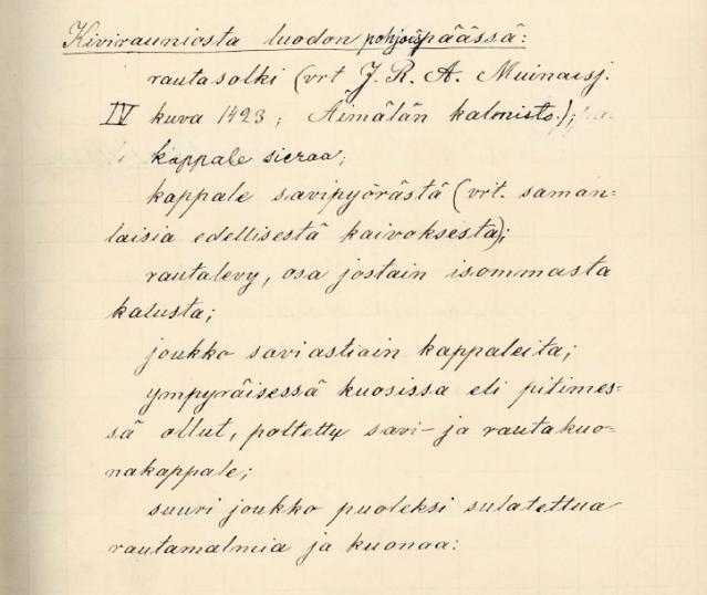 Hjalmar Appelgrenin kuvaus Kokemäen Harolan Linnaluodon pohjoispäässä sijaineen röykkiön löydöistä vuonna 1886.