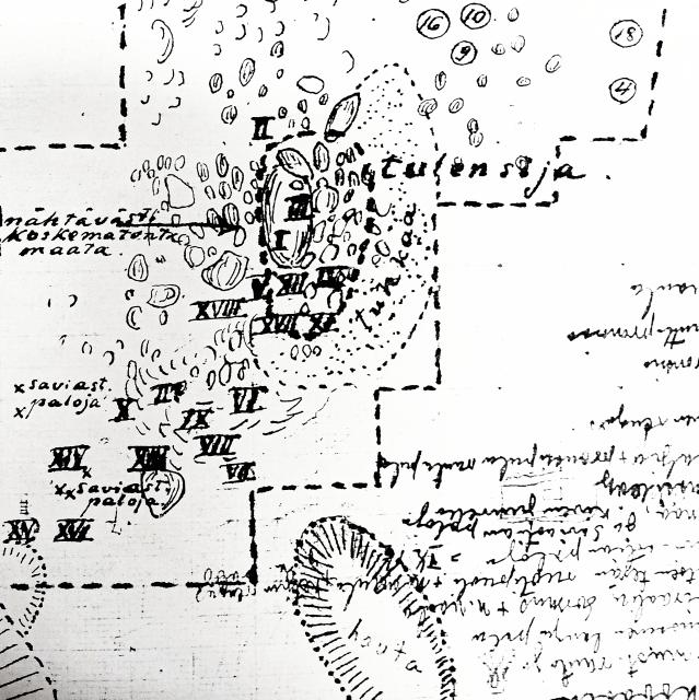 Osa Matti Kampmanin 1921 laatimasta Kokemäen Pusson kaivauskartasta. Kartassa on tulisija, josta sankasolki löytyi kohdasta III.