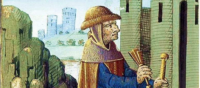 1400-luvun lopulla piirettu kuva esittää lepraan sairastunutta, joka ilmoittaa itsestään räikän tai kastanjettien kaltaisen soittimen avulla. (PD/Bibliothèque nationale de France)