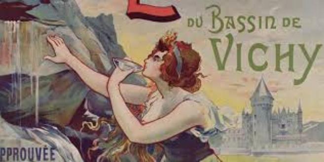 Mineraalivesimainos 1800-luvun lopusta. Pullotettujen mineraalivesien saatavuus helpottui 1800-luvun kuluessa, mikä osaltaan laski terveyslähteiden suosiota.