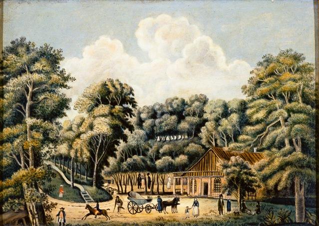 Tuntemattoman taiteilijan maalaus Ruotsissa sijaitsevan Ramlösan terveyslähteestä noin 1820.