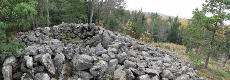 Kirkkonummen Brunnibergin röykkiössä on keskuskuoppa. Kuva: Teemu Mökkönen/ Museovirasto (Finna.fi)