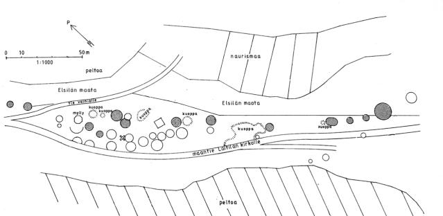 Museoviraston opastaulun kartta Untamalan Myllymäen kalmistosta perustuu vuoden 1919 havaintoihin. 1900-luvun alussa maastossa erottui yli 30 kumpua. Haudoista on tutkittu arkeologisesti 16, ja osa on tuhoutunut soranotossa. Nykyisin erottuvat kummut on varjostettu karttaan. Niitä on kymmenkunta.