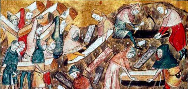 Flaamilainen 1300-luvun miniatyyrikuva esittää ruttohautauksia Tournaissa, Belgiassa.