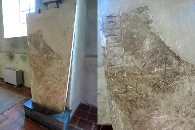 Turun tuomikirkon Pormestarin kuorissa säilytettävä kivi nro 1 kuuluu Itämeren alueen keskiaikaisiin hautakivityyppeihin, joiden muodossa on toisinaan nähty jopa riimukivien vaikutusta. Kuvat: Juhana Ahlamo.