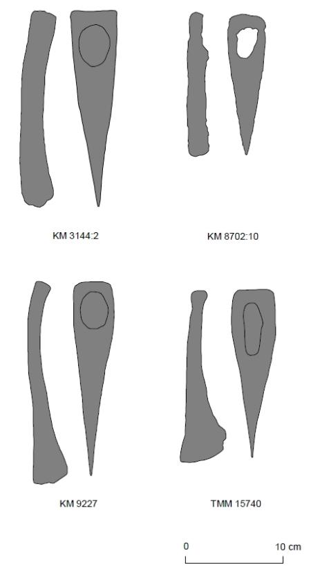 Kiilakirveet on aikaisemmin ajoitettu viikinkiajalle, vaikka ne uuden tutkimuksen mukaan ajoittuvat pikemminkin varhaiselle rautakaudelle. Kuva: Asplund 2008, fig. 109.