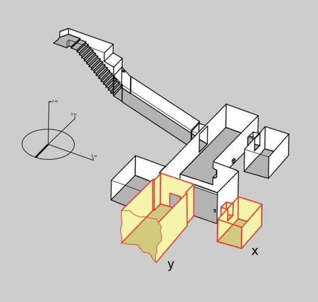 Kaavakuva Tutankhamonin haudasta ja Nicholas Reevesin ehdottamat laajennukset. Kuva: Theban Mapping Project http://www.thebanmappingproject.com/ Nicholas Reevesin tekemin lisäyksin.