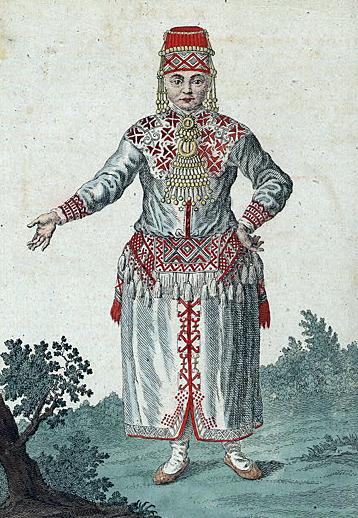 Venäläinen piirros mordvalaisesta naisesta vuodelta 1781.