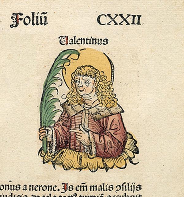 Pyhä Valentinus kuvattuna vuonna 1493 valmistuneessa Nürnbergin kronikassa.