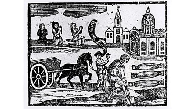 Haudankaivaja työssään 1600-luvun puupiirroksessa.
