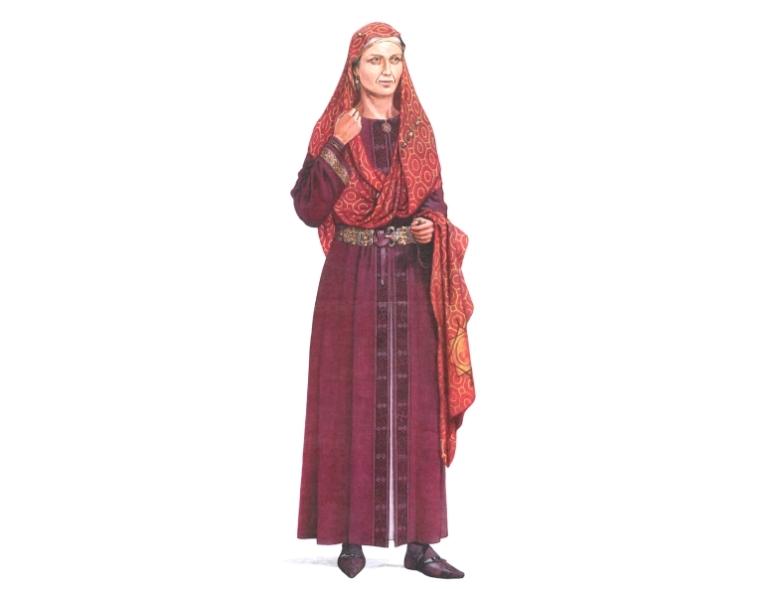 Tekstiilitutkimuksiin pohjaava rekonstruktio vaatetuksesta, jossa Arnegunde on haudattu (Desrosiers & Rast-Eicher 2012: fig 5.).