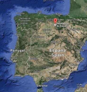 Atapuerca sijaitsee Pohjois-Espanjan ylängöllä (Google Maps)