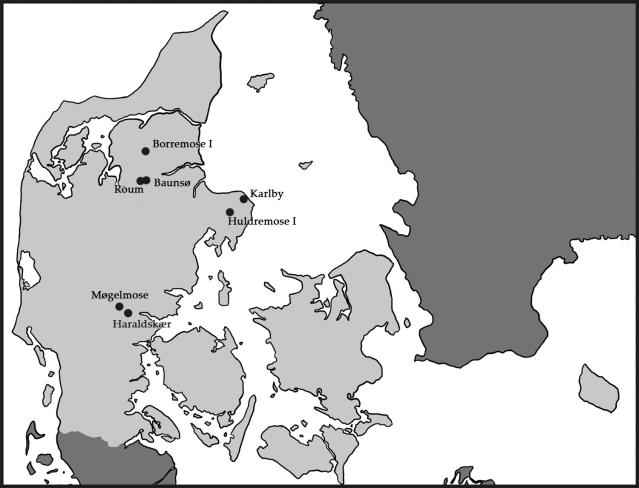 Pronssikauden ja rautakauden vaihteeseen ajoittuvien suoruumiiden löytöpaikkoja Tanskassa.