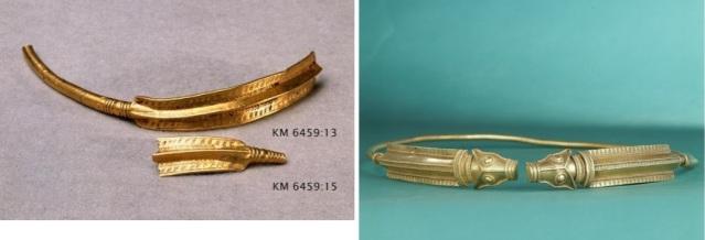 """Esihistorialliselle ajalle ajoittuvat kultaesineet ovat Suomessa erittäin harvinaisia. Kaularenkaat Salon Uskelan Katajamäestä ja Nousiaisista (kopio, alkuperäistä säilytetään Tukholmassa), ajoitus 200-luku jaa. Molemmat ovat Skandinaviassa tehtyjä, mutta tutkijoiden mukaan niissä voi nähdä roomalaisen ja """"barbaarisen"""" muodin yhteisvaikutusta. Arvokorujen raaka-aine tuotiin mahdollisesti Rooman ydinalueilta. (Salo 1987c: 234-235, 243). Kuvat: Museovirasto/Finna.fi."""