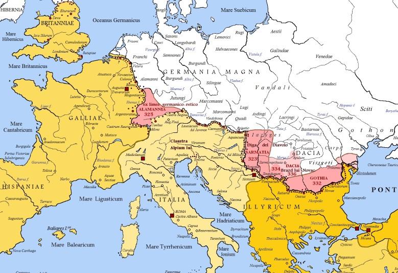Rooman valtakunta laajeni voimakkaasti ajanlaskun taitteen tienoilla, jolloin valloitettiin osia mm. nykyisestä Ranskasta, Saksasta ja Balkanilta. Maantieteellisesti Suomea lähimpänä olivat Germania Superiorin ja Germania Inferiorin pohjoisosat. Kuvassa Rooman valtakunnan pohjoisrajaa 100-luvulla.