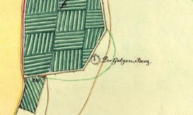 Haapsalun hirsipuumäki on merkitty vielä vuoden 1848 karttaan. Kuva: Malve et al. 2013, fig. 1