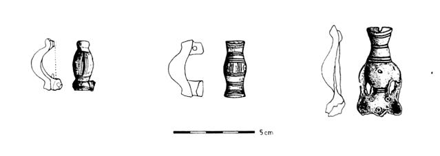 Päivääniemestä löydettyjen merovingiaikaisten solkien piirroksia.