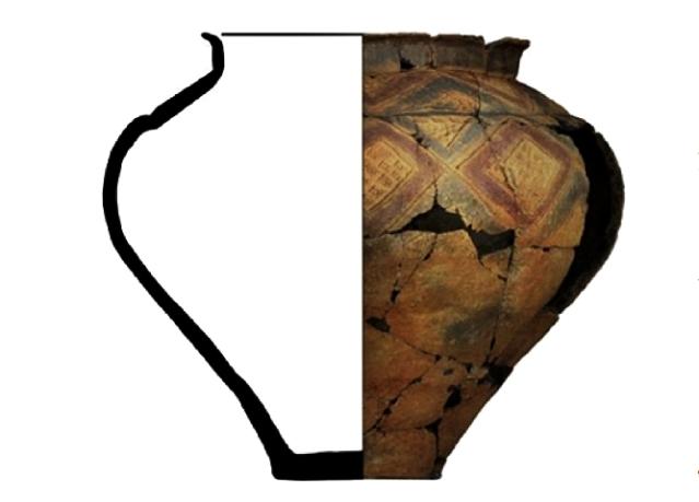 Tutkitut astianpalatovat peräisin vuosien 600-450 eaa. välille ajoittuvasta hautakummusta Heuneburgin läheltä. Lounais-Saksassa sijaitseva Heuneburg oli samaan aikaan käytössä ollut linnavuori ja yksi runsaimmin tutkituista eurooppalaisista linnavuorikohteista. Lähistön runsaasti varusteltuja hautauksia on pidetty paikalliselle eliitille kuuluneina. Kuva:Wiktorowicz et al. 1917, fig. 3.