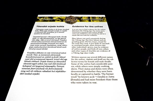 Yhteisöjen näkymättömät osat, kuten orjat, ovat viime vuosina tulleet osaksi tutkimusta. Orjista kerrottiin näyttelyssä etenkin tekstien avulla, sillä tiettyjä löytöjä on vaikea yhdistää juuri orjiin. Kuva: Ulla Moilanen.