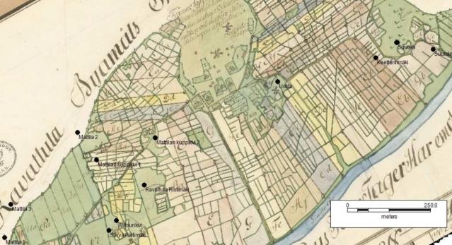 Kaarinan Ravattulan kivien sijainti 1700-luvun maisemassa. Pohjakarttana