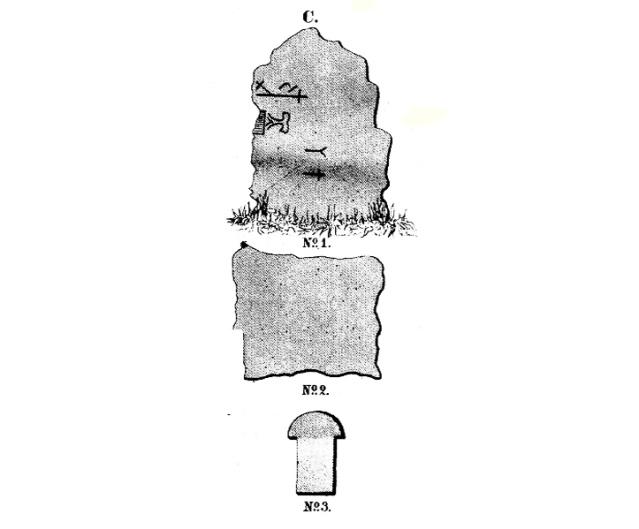 1: Nokiankivi symboleineen. 2: Toinen paikalta löytynyt laakakivi. 3: Tiilirakenteesta löytynyt ruodetiili. Piirrokset: Daniel Skogman 1864.
