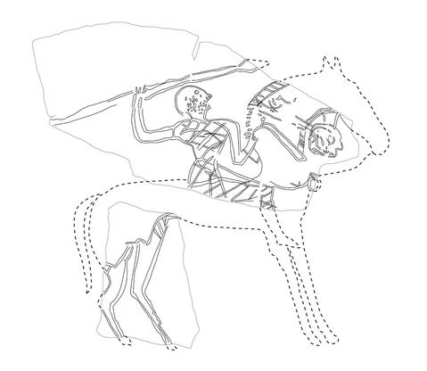 Ranskasta, Clermont-Ferrandin lähistöltä Aulnatista, rautakautiselta asuinpaikalta löytyneen keramiikka-astian fragmentissa on kuvattu ratsusotilas, jonka hevosen kaulalla roikkuu irrotettu ihmispää. Kuva: Armit 2012, fig. 2.2.