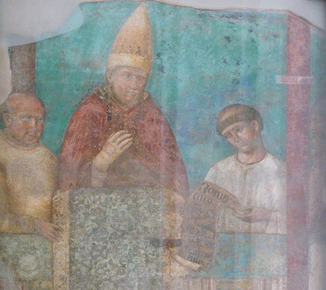 Paavi Bonifatius VIII:tta esittävä fresko Rooman lateraanikirkossa. Kuva: Wikimedia Commons.