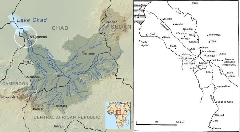 KarttaTšadjärvestä ja siihen laskevista joista. Vasempaan karttaan on ympyrällä merkitty oikeassa kartassa näkyvä alue. Oikeassa kartassa sao-kulttuurin tunnettuja arkeologisia kohteita. Tässä jutussa mainitut kohteet on merkitty vihreällä neliöllä.