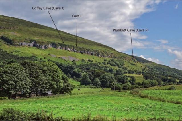 Irlantilaisia luolakohteita, joista on löytynyt rautakaudelle ja varhaiskeskiajalle ajoitettuja ihmisluita. Kuva: Dowd 2015: 165 (fig. 7.2).