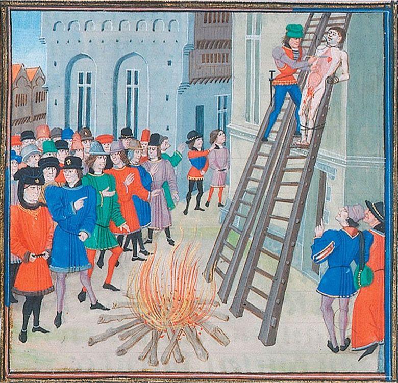 Hugh Despenserin teloitusta kuvaava keskiaikainen piirros.