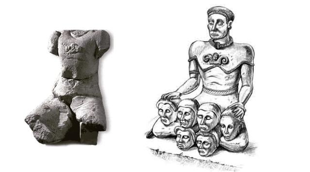 Etelä-Ranskalaiselta Entremontin kelttiläiskohteelta löytynyt fragmentaarinen patsas ja sen oletettu rekonstruktio.
