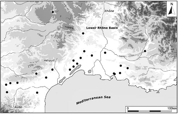 Etelä-Ranskassa sijaitsevia rautakautisia asuinpaikkoja, joilta on löytynyt ihmiskallon kappaleita. Kuva: Armin 2012, fig. 5.17.