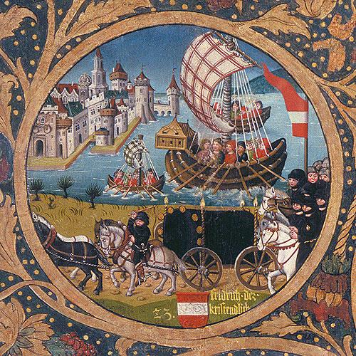 Itävallan herttua Fredrik I palaa kotiin ristiretkeltä most teutonicus -käsittelyn saatuaan. Kuva 1400-luvun kronikasta.