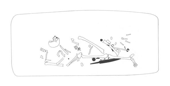 Sekundaarisesta kajoamisesta johtuvaa luiden ja löytöjen sekoittumista. Kuva: Grünewald, C. 1988. Das alamannische Gräberfeld von Unterthürheim, BayerischSchwaben. Materialhefte zur Bayerischen Vorgeschichte A 59.