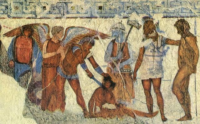 Etruskihaudan freskossa (noin 340 eaa.) uhrataan troijalaista sotavankia.